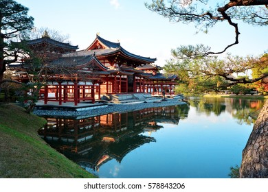 Uji, Kyoto, Japan - December 7,2016 : Phoenix Hall of Byodo-in Temple in Uji city near Kyoto. National Treasure of Japan and UNESCO World Heritage site