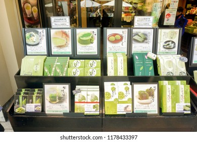 Uji, Kyoto prefecture, Japan - July 18 2018 :  A wide range of products made from  Japanese green tea and by Uji city. Uji city earned a reputation for excellent green tea production most in japan.