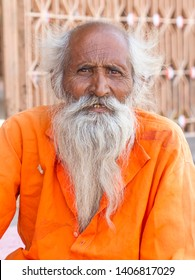 Ujjain, India - April 03, 2011: holy man in Shiv Temple at Ram Ghat Ujjain, Sadhu devoted his whole life in meditation after wear Saffron religion apparel