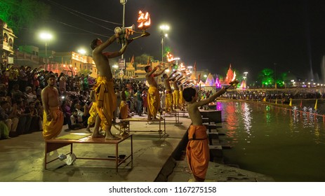 "Ujjain, Madhya Pradesh, India - April 20, 2016: ""Arti""ritual during Simhasth Kumbh Mela, Ujjain, India."