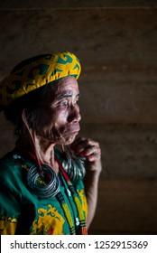 Ujoh Bilang, East Borneo/Indonesia-October 25th 2018: Dayak Women
