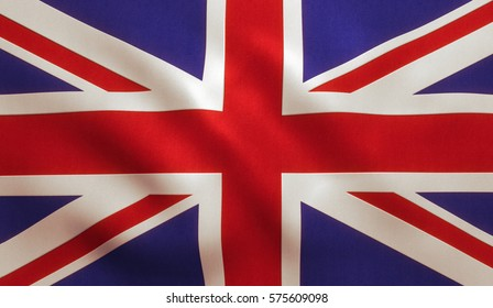 UK British flag background with cloth texture.
