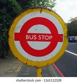 UK bus stop sign
