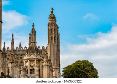 UK, Cambridge - August 2018: Spires of Kings College Chapel, Front