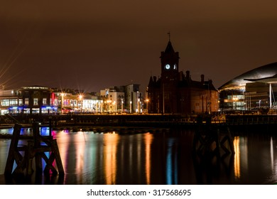 UK, CARDIFF - 15 MARCH 2015: Cardiff Bay by night
