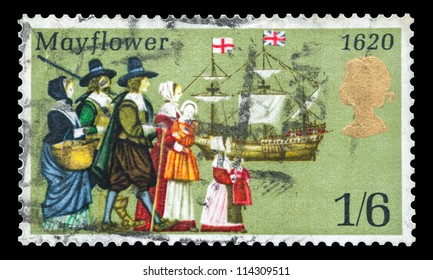 UK - CIRCA 1970: Commemorative mail stamp printed in the UK featuring the sailing to America in 1620 of the Pilgrims from Britain onboard the Mayflower ship, circa 1970