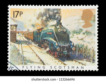 UK - CIRCA 1985: Mail stamp printed in the UK featuring the British built Sir Nigel Gresley steam locomotive and Flying Scotsman carriages, circa 1985
