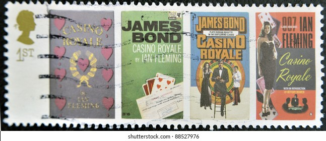 UK - CIRCA 1995 : stamp printed in UK with James Bond Agent 007 of Ian Fleming, Casino royale,  circa 1995