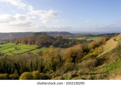 UK, Cotswolds, Gloucestershire, autumn view towards the Severn Vale from Uley Bury