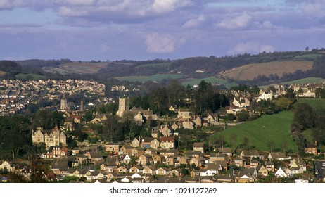 UK, Cotswolds, Gloucestershire, view over Stroud and the Stroud Valleys