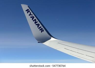 UK TO CRETE FLIGHT/EUROPE - APRIL 14th 2015 - The wing tip of a Ryanair Boeing 737 aeroplane during flight.