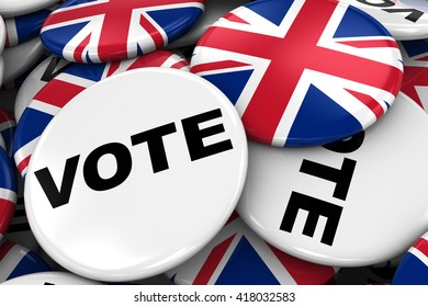 UK Elections Concept Image - Mix of Vote and British Flag Badges in Pile - 3D Illustration