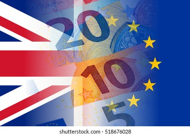uk and eu flag with euro banknotes
