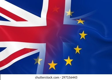 UK and EU Relations Concept Image - Flags of the United Kingdom and the European Union Fading Together