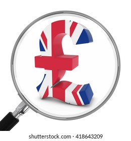 UK Finance Concept - British Pound Symbol Under Magnifying Glass - 3D Illustration