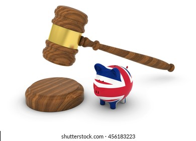 UK Financial Law Concept - Judge's Gavel with British Flag Piggy Bank 3D Illustration