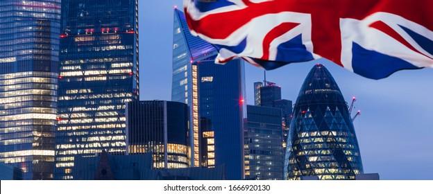 UK flag and London landmarks.