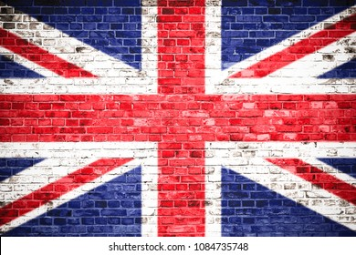 UK Flag on wall. United Kingdom (UK) flag painted on a brick wall. Concept image for Great Britain, British, England, Brexit and English language , people and culture.