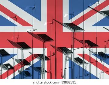 UK flag overlaid over wind generators and solar panels