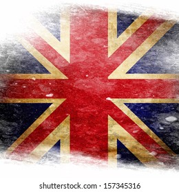 UK flag  with some grunge effects and lines