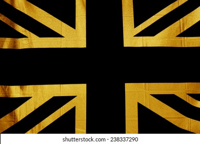 UK flag, Union Jack in Gold and Black