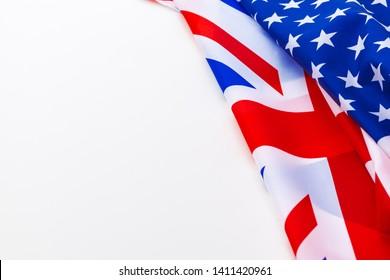 UK flag and USA flag on white background