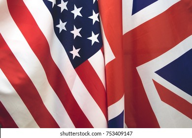 UK flag and USA Flag . Relations between countries .