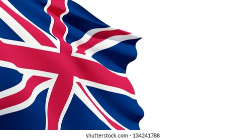 UK flag weaving in the air