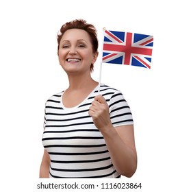 UK flag. Woman holding flag of Great Britain/United Kingdom. Nice portrait of middle aged lady 40 50 years old with a union jack flag isolated on white background. British English language school.