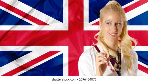UK Health Care concept with English Flag and  woman doctor