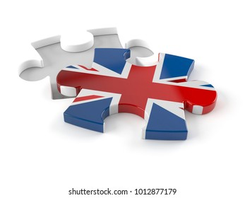 UK jigsaw puzzle concept isolated on white background. 3d illustration