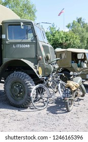 UK, Leicester shire, Quorn, Great Central Railway - 07-06-2018: Vintage military vehicles lined up on display