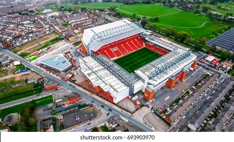 UK, LIVERPOOL - AUGUST 05, 2017: Aerial View Photo of Anfield Stadium in Liverpool. Iconic football ground and home of one of England's most successful sides, Liverpool FC