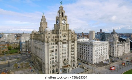 UK, LIVERPOOL - JULY 14, 2017: Aerial View Of Liverpool Town Hall Cityscape with Historic Iconic Royal Liver Building Clock Tower in Liverpool, England UK