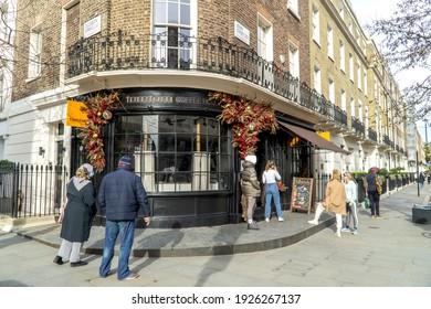 UK, London - February 20 2021: Tomtom Coffee shop, Elizabeth and Ebury Street, Belgravia, London