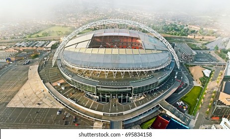 UK, LONDON - JULY 12, 2016 : Aerial View Image Photo of Iconic Football Landmark Arena Wembley Stadium hosts home matches of the England national football team in London, England UK
