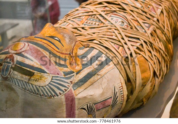 UK, London - JUNE 21, 2015: British Museum in London and Egyptian mummy.