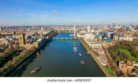 UK, LONDON - OCTOBER 24, 2016: Aerial View Photo of Big Ben London Eye Landmarks Cityscape London UK
