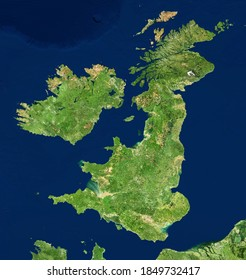 UK map in satellite photo, England terrain view from space. Physical topographic map of Great Britain and Ireland islands. Detailed photography of United Kingdom. Elements of image furnished by NASA.