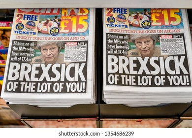 UK - March 30, 2019: Headlines in all the newspapers across England reporting about Brexit