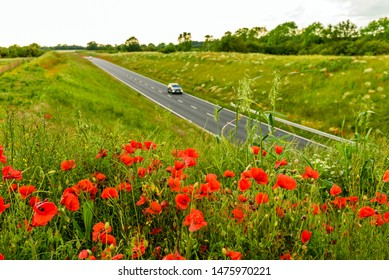 uk motorway road with poppies in foreground view at daylight