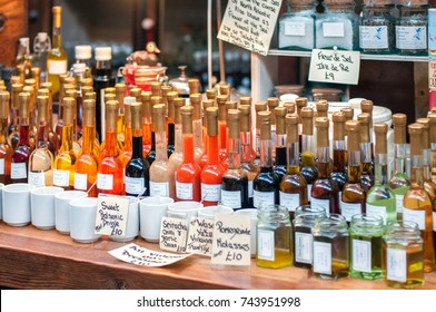 UK, October 2017, London Borough Market: different sauces in glass bottles
