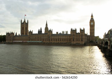 UK Parliament and Big Ben in London, the River Thames