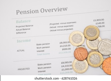 Uk pension review with british money and calculator. State pension based on UK 2017 figures.