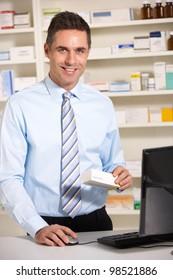 UK pharmacist at work