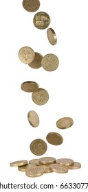 uk pound coins falling into a pile