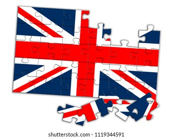 UK puzzle, some pieces not in place. United Kingdom Political comment, concept - Brexit etc.