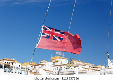 The uk red ensign the british maritime flag flown from yacht sail boat.Yacht Registration in the British Red Ensign group