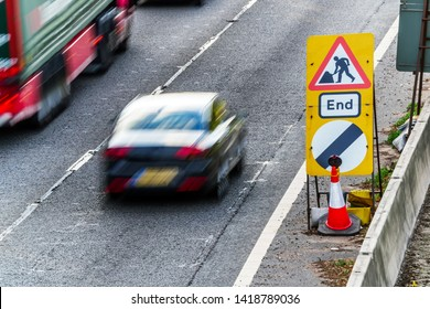 UK Road Services Roadworks End sign on motorway