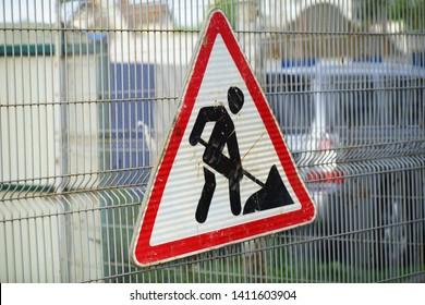 UK Road Work Sign, Under Construction, Road Works Sign for Construction Works in Street, Dirty Construction Warning Concept